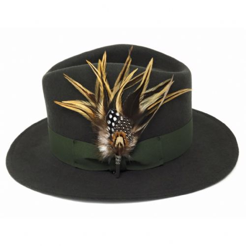 Wool Green Shower Proof Fedora Hat with Country Feather Brooch - Burford